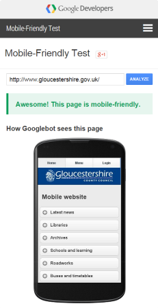 Gloucestershire Google Mobile Friendly