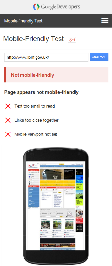 LBHF Google Mobile Friendly Test